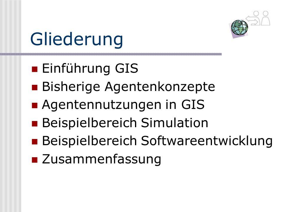 Gliederung Einführung GIS Bisherige Agentenkonzepte Agentennutzungen in GIS Beispielbereich Simulation Beispielbereich Softwareentwicklung Zusammenfassung