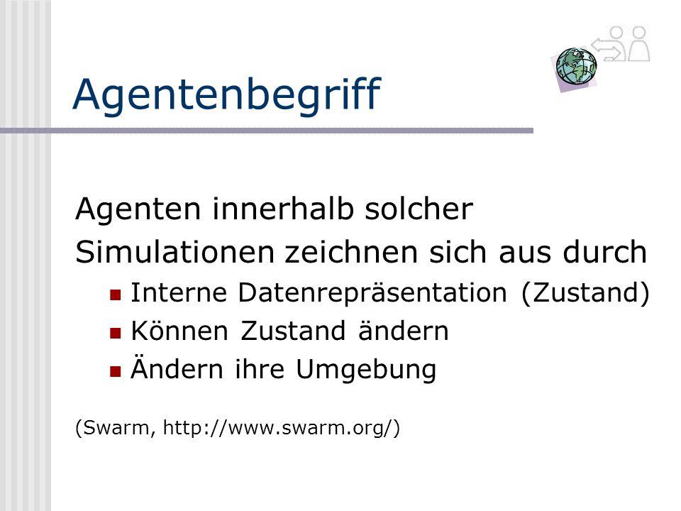 Agentenbegriff Agenten innerhalb solcher Simulationen zeichnen sich aus durch Interne Datenrepräsentation (Zustand) Können Zustand ändern Ändern ihre Umgebung (Swarm, http://www.swarm.org/)
