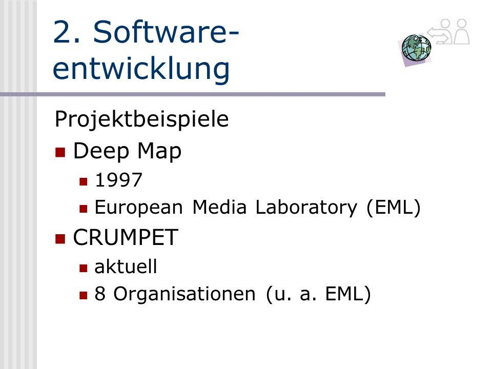 2. Software- entwicklung Projektbeispiele Deep Map 1997 European Media Laboratory (EML) CRUMPET aktuell 8 Organisationen (u. a. EML)