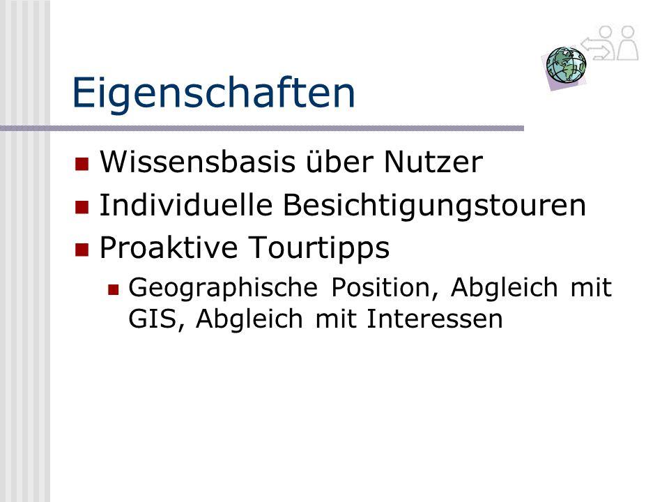 Eigenschaften Wissensbasis über Nutzer Individuelle Besichtigungstouren Proaktive Tourtipps Geographische Position, Abgleich mit GIS, Abgleich mit Interessen