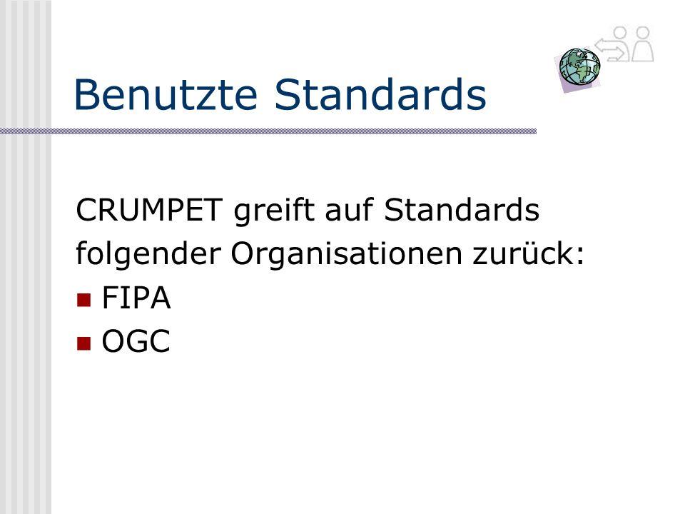 Benutzte Standards CRUMPET greift auf Standards folgender Organisationen zurück: FIPA OGC