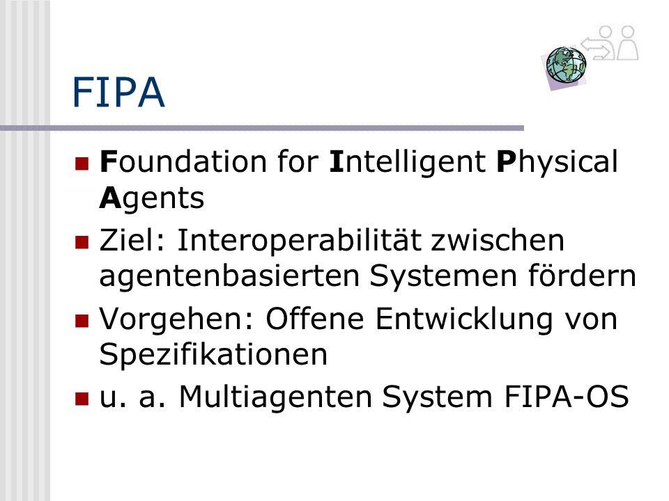 FIPA Foundation for Intelligent Physical Agents Ziel: Interoperabilität zwischen agentenbasierten Systemen fördern Vorgehen: Offene Entwicklung von Spezifikationen u.