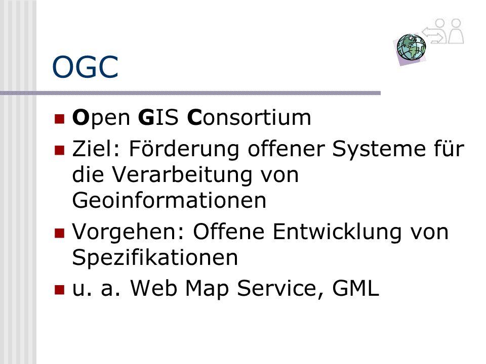 OGC Open GIS Consortium Ziel: Förderung offener Systeme für die Verarbeitung von Geoinformationen Vorgehen: Offene Entwicklung von Spezifikationen u.