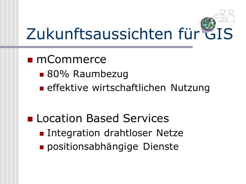 Zukunftsaussichten für GIS mCommerce 80% Raumbezug effektive wirtschaftlichen Nutzung Location Based Services Integration drahtloser Netze positionsabhängige Dienste