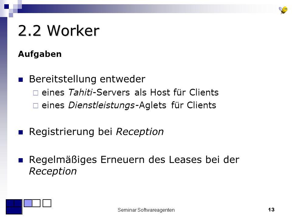 Seminar Softwareagenten13 2.2 Worker Aufgaben Bereitstellung entweder eines Tahiti-Servers als Host für Clients eines Dienstleistungs-Aglets für Clients Registrierung bei Reception Regelmäßiges Erneuern des Leases bei der Reception
