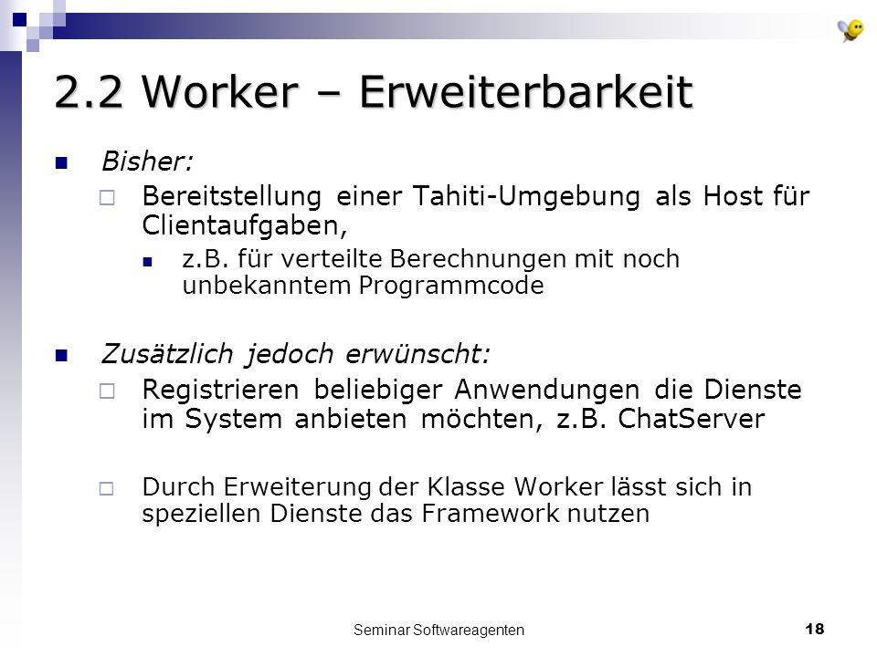 Seminar Softwareagenten18 2.2 Worker – Erweiterbarkeit Bisher: Bereitstellung einer Tahiti-Umgebung als Host für Clientaufgaben, z.B.