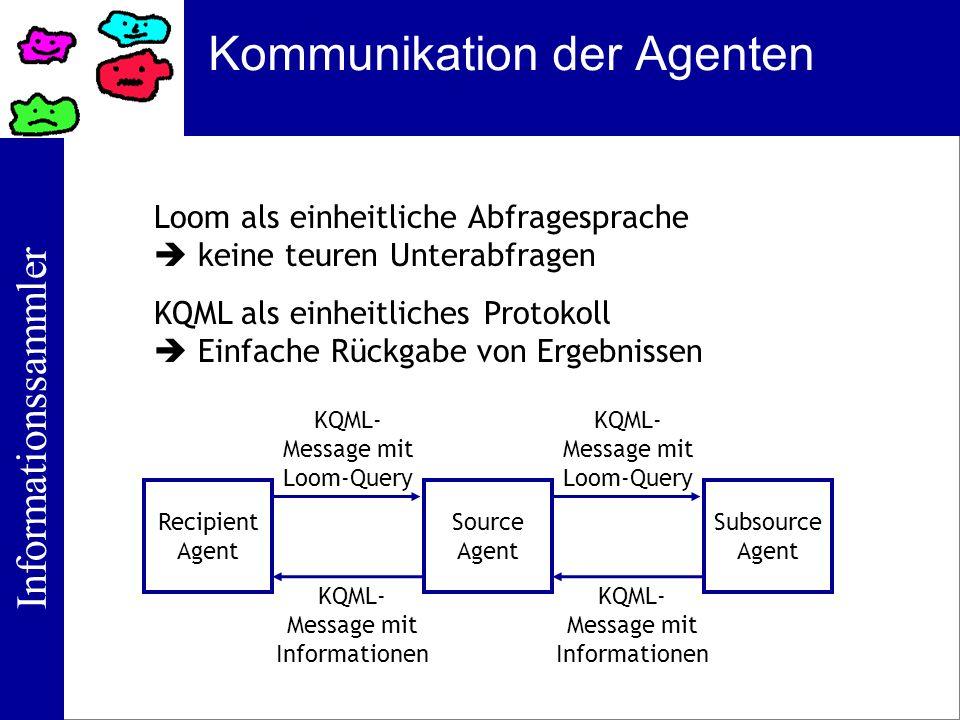 Informationssammler Kommunikation der Agenten Loom als einheitliche Abfragesprache keine teuren Unterabfragen KQML als einheitliches Protokoll Einfach