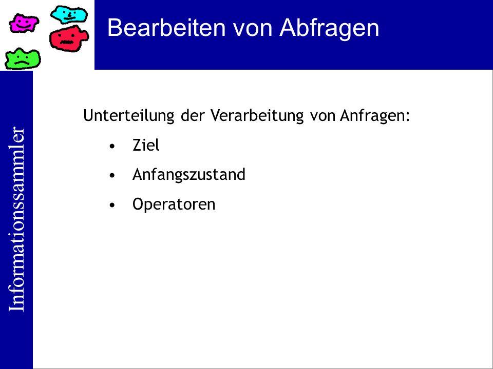 Informationssammler Bearbeiten von Abfragen Unterteilung der Verarbeitung von Anfragen: Ziel Anfangszustand Operatoren