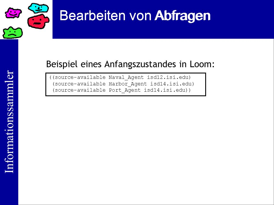Informationssammler Bearbeiten von Abfragen ((source-available Naval_Agent isd12.isi.edu) (source-available Harbor_Agent isd14.isi.edu) (source-availa