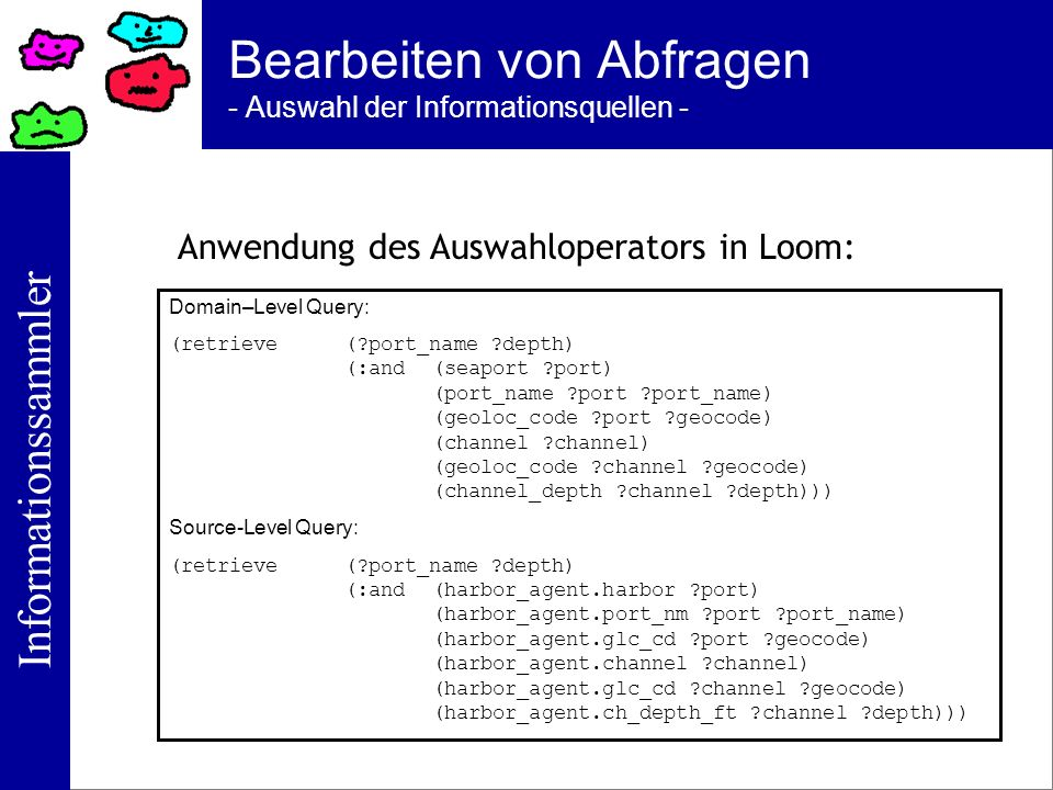 Informationssammler Bearbeiten von Abfragen - Auswahl der Informationsquellen - Domain–Level Query: (retrieve(?port_name ?depth) (:and(seaport ?port)