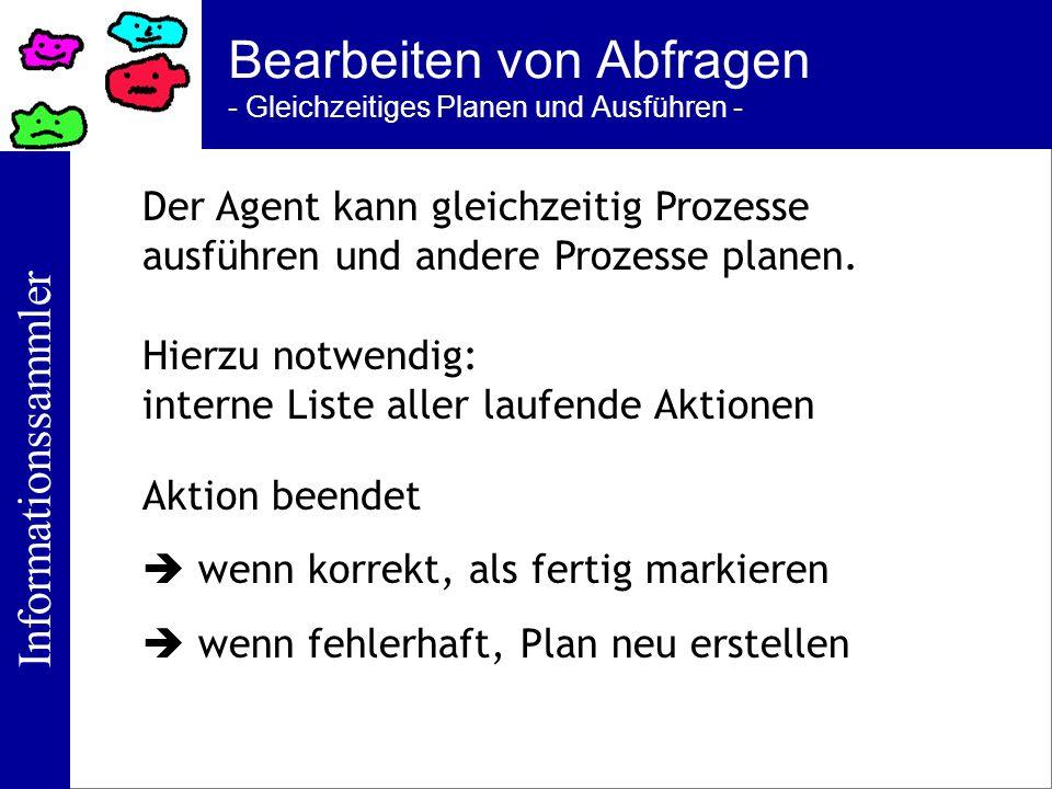 Informationssammler Bearbeiten von Abfragen - Gleichzeitiges Planen und Ausführen - Der Agent kann gleichzeitig Prozesse ausführen und andere Prozesse