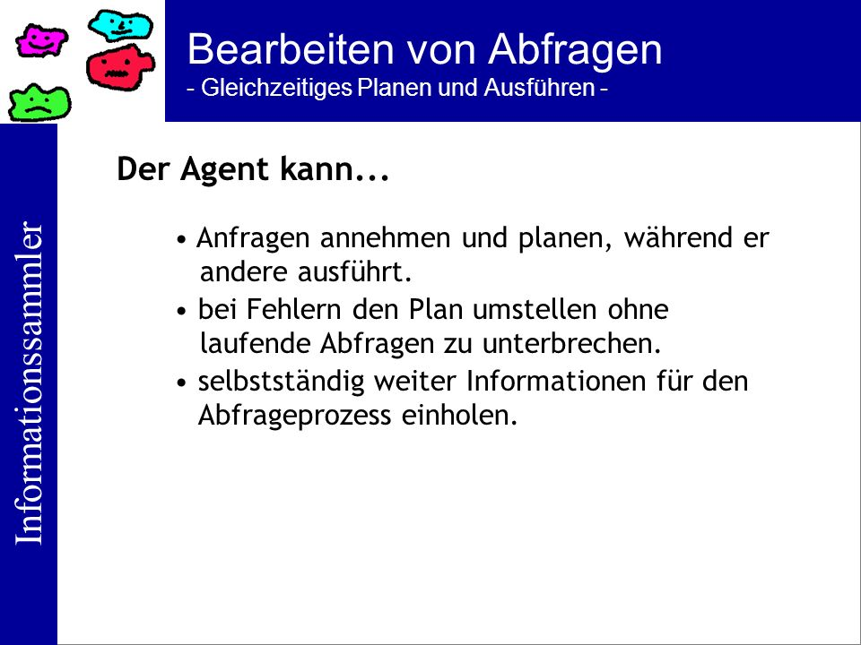 Informationssammler Bearbeiten von Abfragen - Gleichzeitiges Planen und Ausführen - Der Agent kann... Anfragen annehmen und planen, während er andere