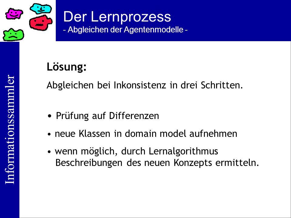 Informationssammler Der Lernprozess - Abgleichen der Agentenmodelle - Lösung: Abgleichen bei Inkonsistenz in drei Schritten. Prüfung auf Differenzen n