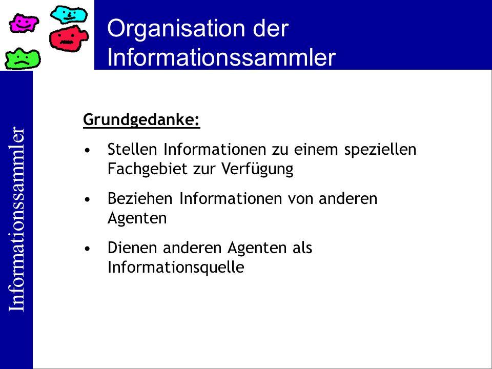 Informationssammler Organisation der Informationssammler Grundgedanke: Stellen Informationen zu einem speziellen Fachgebiet zur Verfügung Beziehen Inf