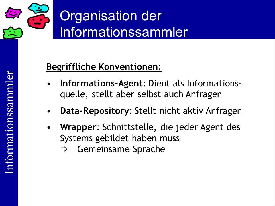 Informationssammler Organisation der Informationssammler Begriffliche Konventionen: Informations-Agent: Dient als Informations- quelle, stellt aber se