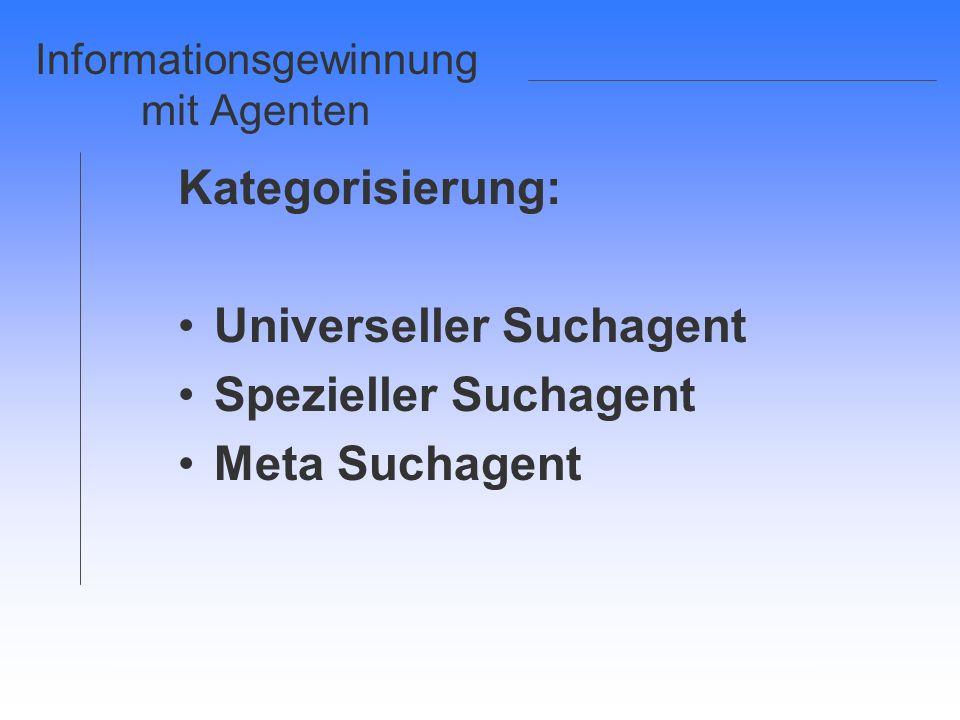 Informationsgewinnung mit Agenten Kategorisierung: Universeller Suchagent Spezieller Suchagent Meta Suchagent