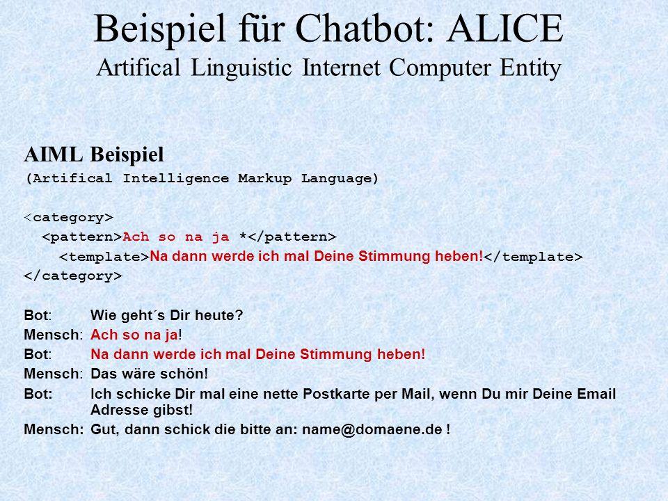 Beispiel für Chatbot: ALICE Artifical Linguistic Internet Computer Entity AIML Beispiel (Artifical Intelligence Markup Language) Ach so na ja * Na dann werde ich mal Deine Stimmung heben.