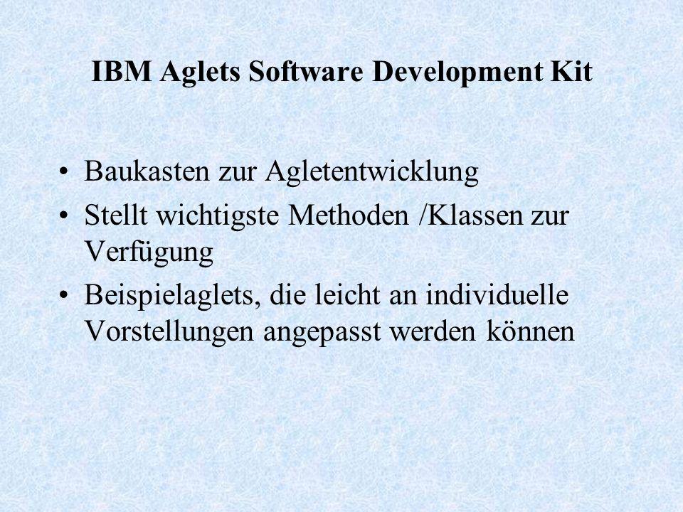 IBM Aglets Software Development Kit Baukasten zur Agletentwicklung Stellt wichtigste Methoden /Klassen zur Verfügung Beispielaglets, die leicht an individuelle Vorstellungen angepasst werden können