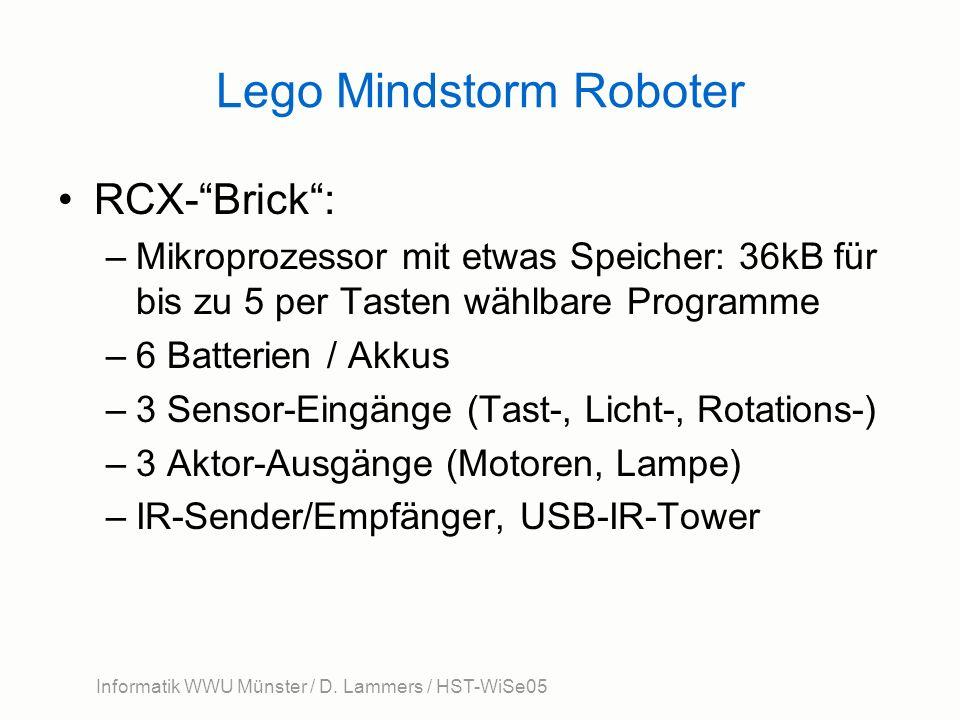 Informatik WWU Münster / D. Lammers / HST-WiSe05 Lego Mindstorm Roboter RCX-Brick: –Mikroprozessor mit etwas Speicher: 36kB für bis zu 5 per Tasten wä