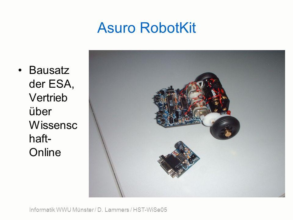 Informatik WWU Münster / D. Lammers / HST-WiSe05 Asuro RobotKit Bausatz der ESA, Vertrieb über Wissensc haft- Online