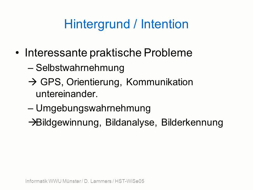 Hintergrund / Intention Interessante praktische Probleme –Selbstwahrnehmung GPS, Orientierung, Kommunikation untereinander. –Umgebungswahrnehmung Bild
