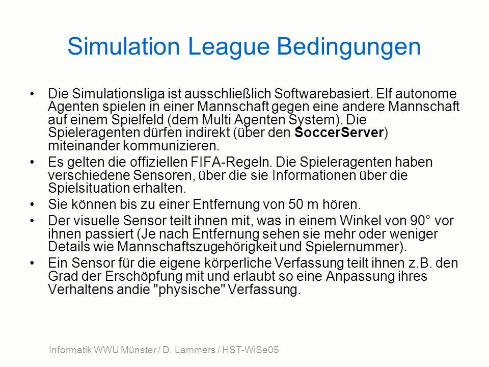 Informatik WWU Münster / D. Lammers / HST-WiSe05 Simulation League Bedingungen Die Simulationsliga ist ausschließlich Softwarebasiert. Elf autonome Ag