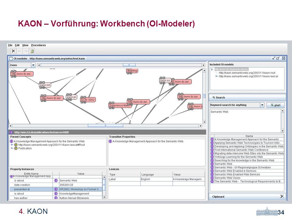 KAON – Vorführung: Workbench (OI-Modeler) 34 4. KAON