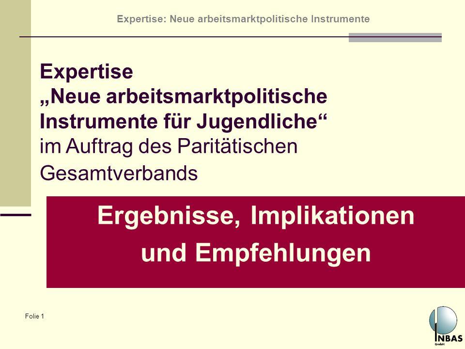 Expertise: Neue arbeitsmarktpolitische Instrumente Folie 1 Ergebnisse, Implikationen und Empfehlungen Expertise Neue arbeitsmarktpolitische Instrument