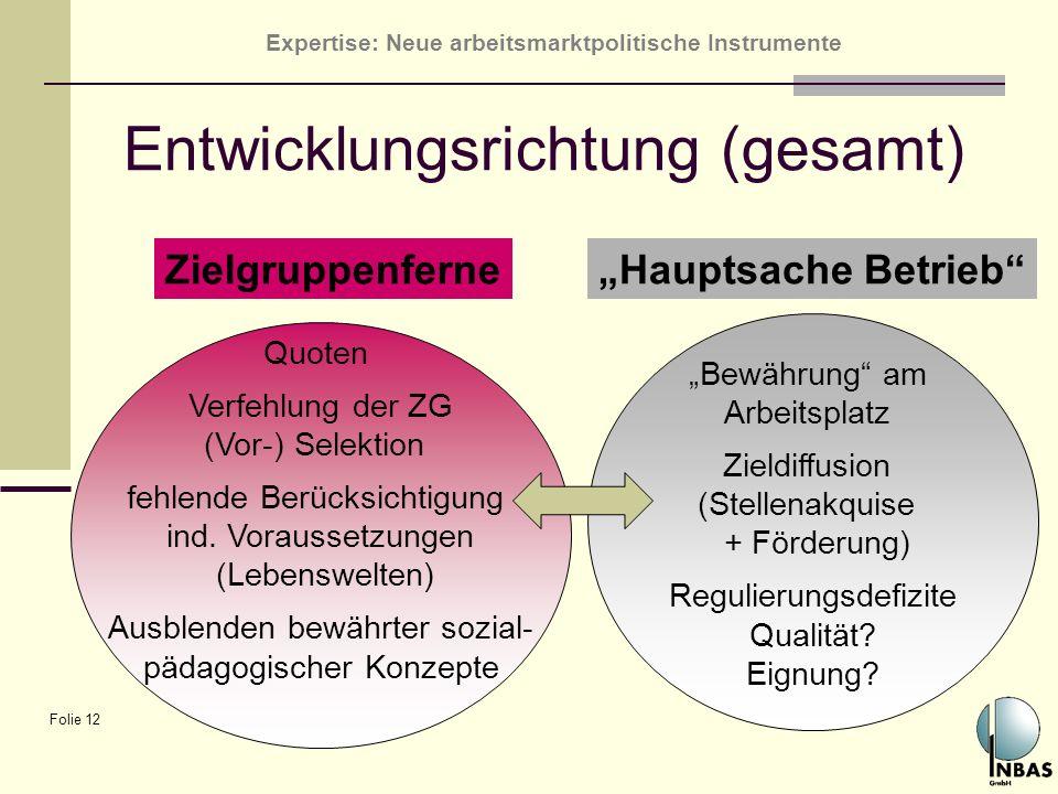 Expertise: Neue arbeitsmarktpolitische Instrumente Folie 12 Entwicklungsrichtung (gesamt) Bewährung am Arbeitsplatz Zieldiffusion (Stellenakquise + Fö