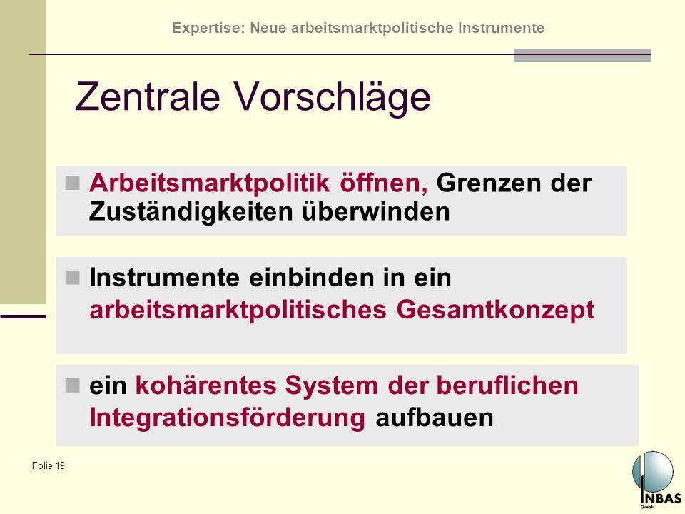 Expertise: Neue arbeitsmarktpolitische Instrumente Folie 19 Zentrale Vorschläge Arbeitsmarktpolitik öffnen, Grenzen der Zuständigkeiten überwinden ein