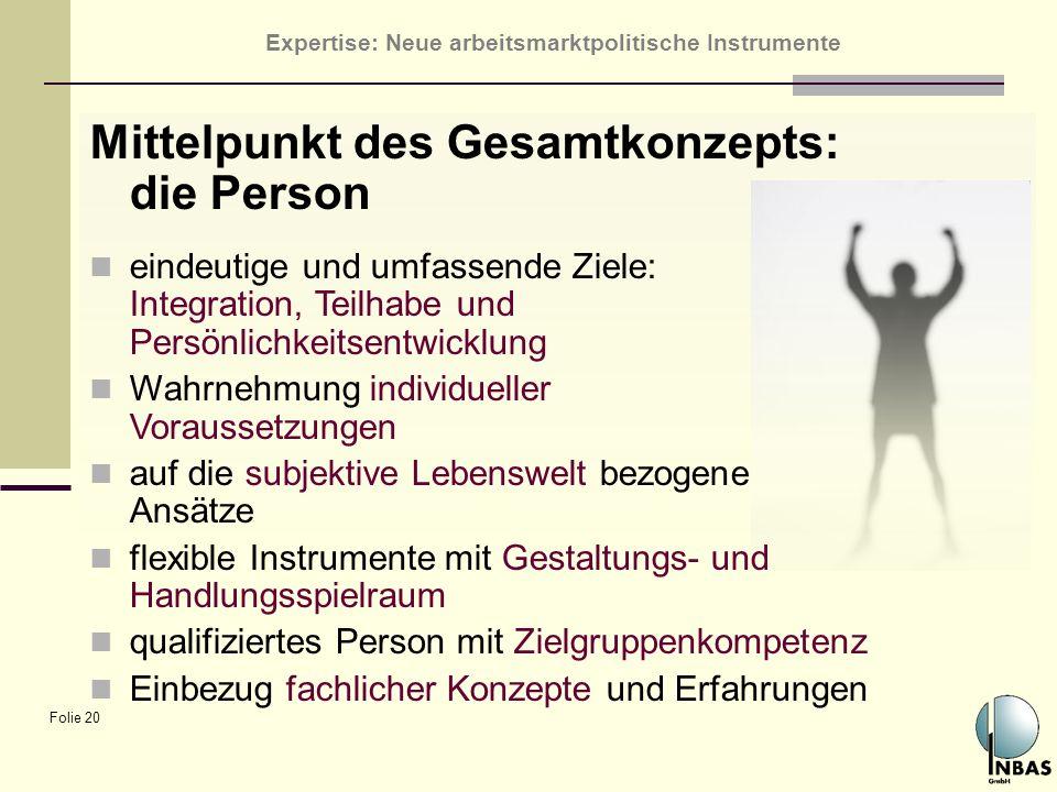 Expertise: Neue arbeitsmarktpolitische Instrumente Folie 20 Mittelpunkt des Gesamtkonzepts: die Person eindeutige und umfassende Ziele: Integration, T