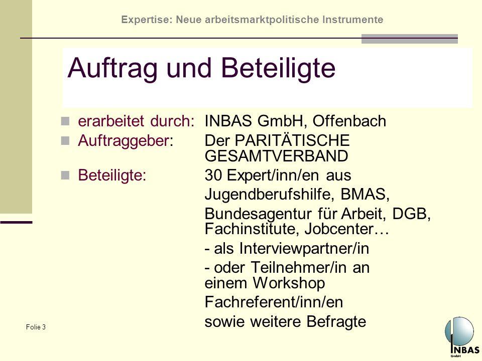 Expertise: Neue arbeitsmarktpolitische Instrumente Folie 3 Auftrag und Beteiligte erarbeitet durch:INBAS GmbH, Offenbach Auftraggeber: Der PARITÄTISCH