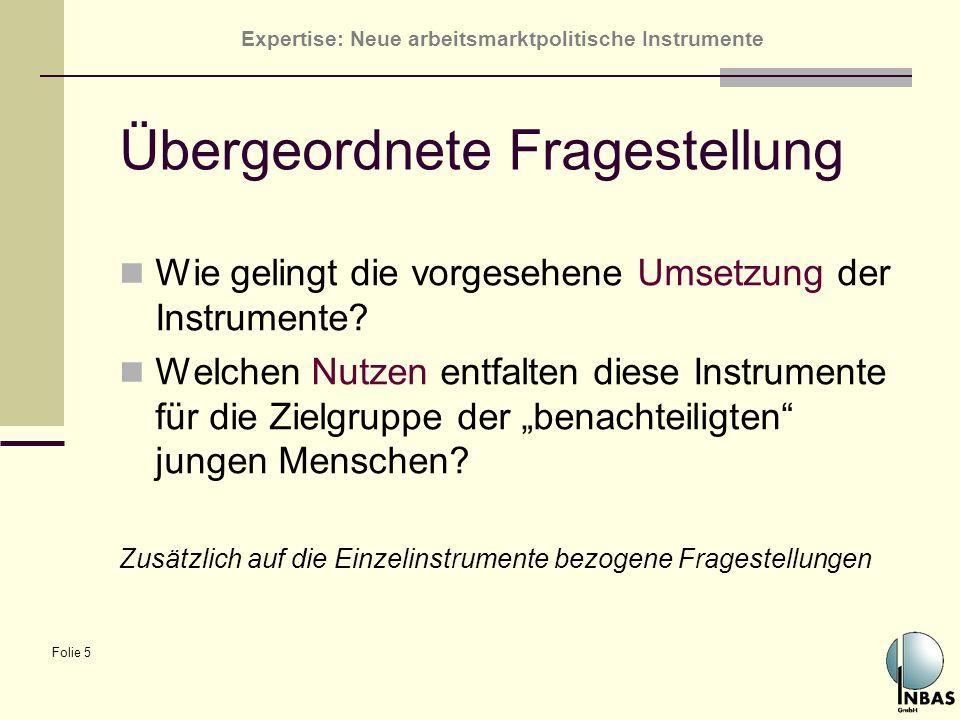Expertise: Neue arbeitsmarktpolitische Instrumente Folie 5 Übergeordnete Fragestellung Wie gelingt die vorgesehene Umsetzung der Instrumente? Welchen