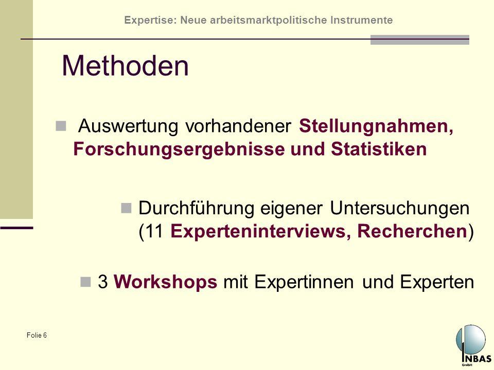 Expertise: Neue arbeitsmarktpolitische Instrumente Folie 6 Methoden Auswertung vorhandener Stellungnahmen, Forschungsergebnisse und Statistiken Durchf