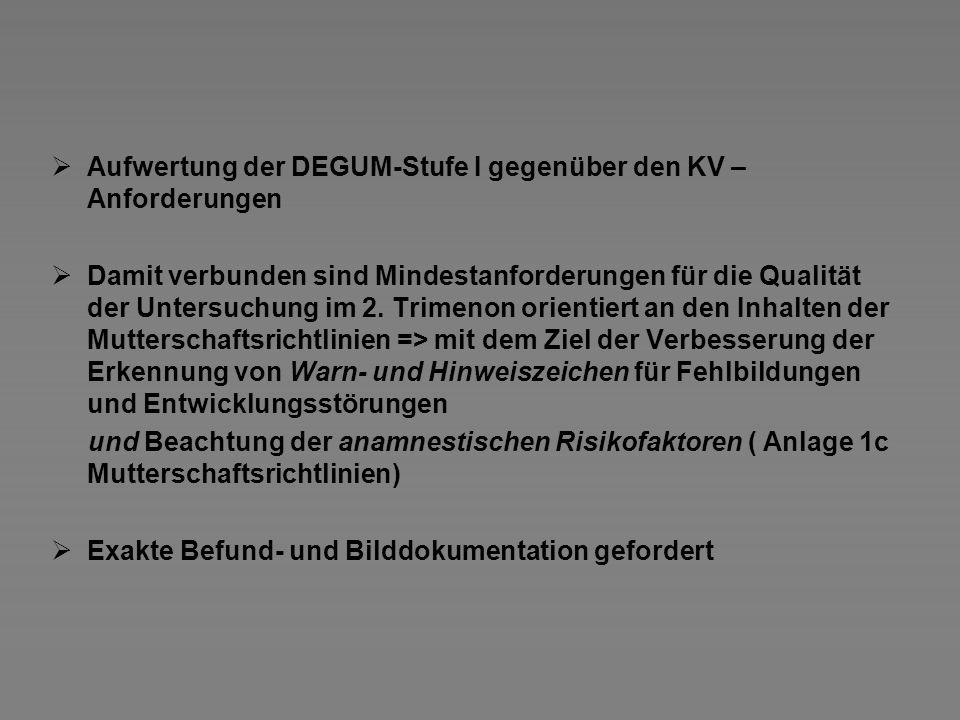 Aufwertung der DEGUM-Stufe I gegenüber den KV – Anforderungen Damit verbunden sind Mindestanforderungen für die Qualität der Untersuchung im 2. Trimen