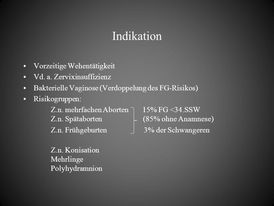 Indikation Vorzeitige Wehentätigkeit Vd. a. Zervixinsuffizienz Bakterielle Vaginose (Verdoppelung des FG-Risikos) Risikogruppen: Z.n. mehrfachen Abort