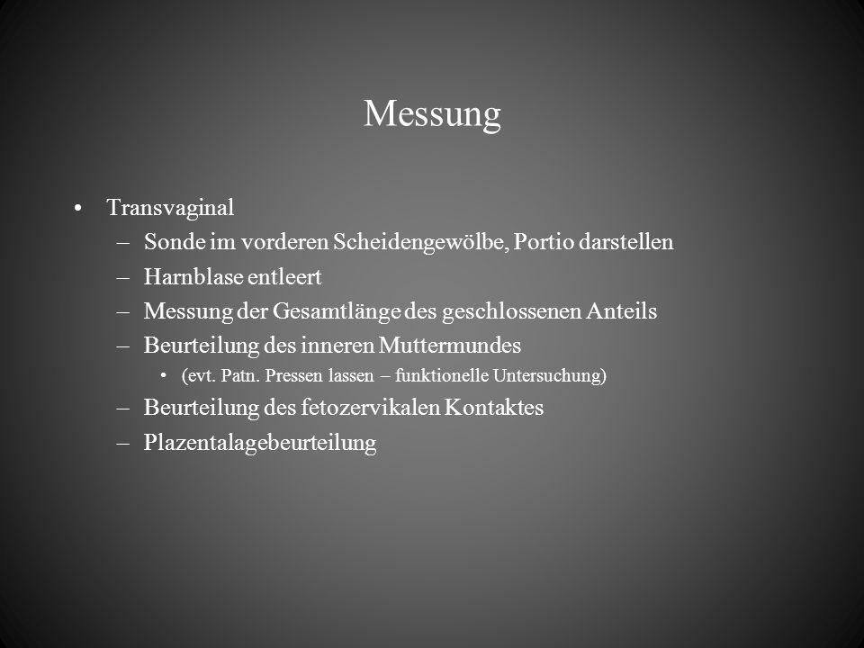 Messung Transvaginal –Sonde im vorderen Scheidengewölbe, Portio darstellen –Harnblase entleert –Messung der Gesamtlänge des geschlossenen Anteils –Beu