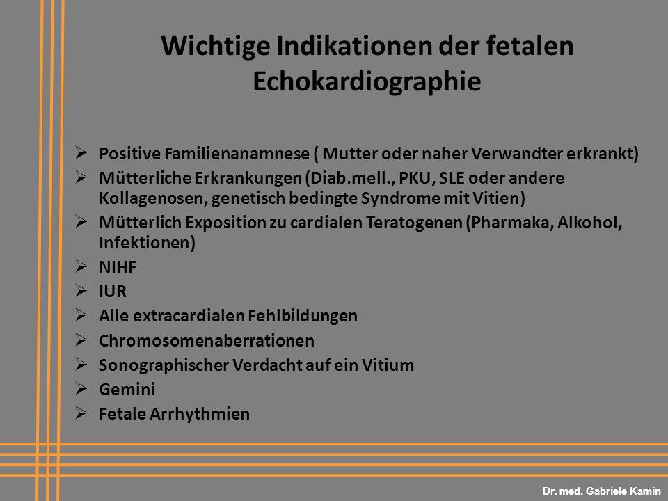 Wichtige Indikationen der fetalen Echokardiographie Positive Familienanamnese ( Mutter oder naher Verwandter erkrankt) Mütterliche Erkrankungen (Diab.