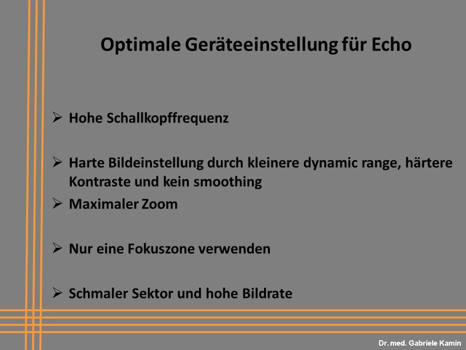 Optimale Geräteeinstellung für Echo Hohe Schallkopffrequenz Harte Bildeinstellung durch kleinere dynamic range, härtere Kontraste und kein smoothing Maximaler Zoom Nur eine Fokuszone verwenden Schmaler Sektor und hohe Bildrate Dr.