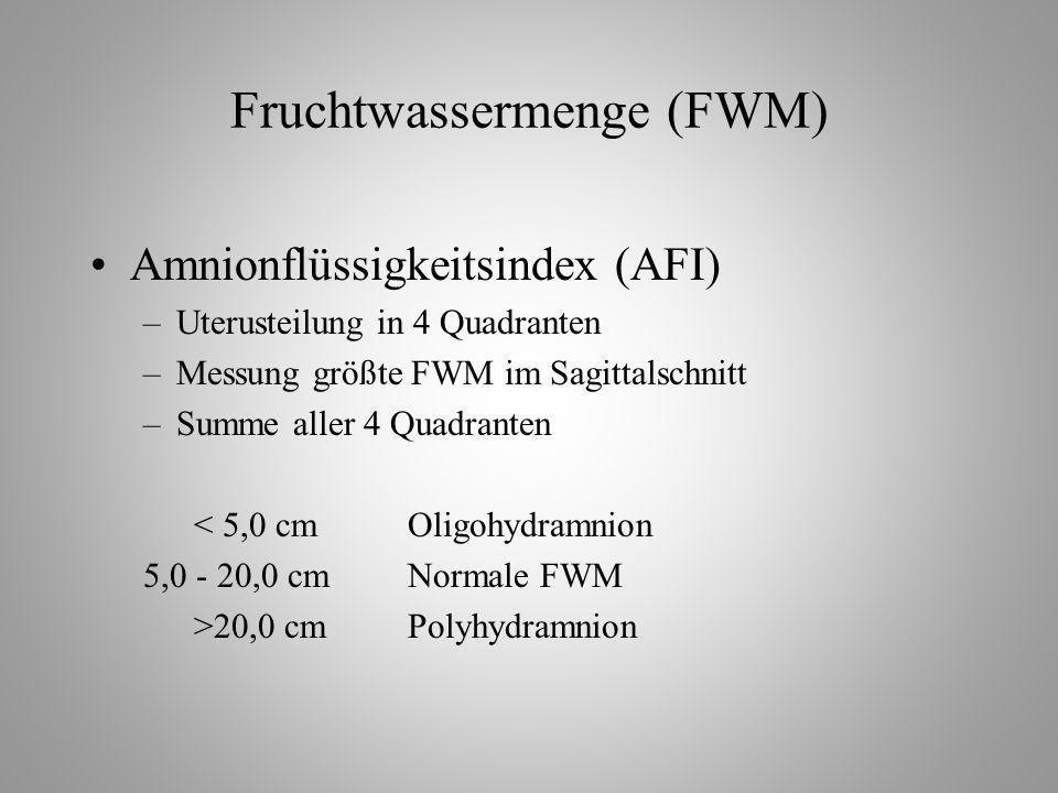 Fruchtwassermenge (FWM) Amnionflüssigkeitsindex (AFI) –Uterusteilung in 4 Quadranten –Messung größte FWM im Sagittalschnitt –Summe aller 4 Quadranten < 5,0 cmOligohydramnion 5,0 - 20,0 cmNormale FWM >20,0 cmPolyhydramnion