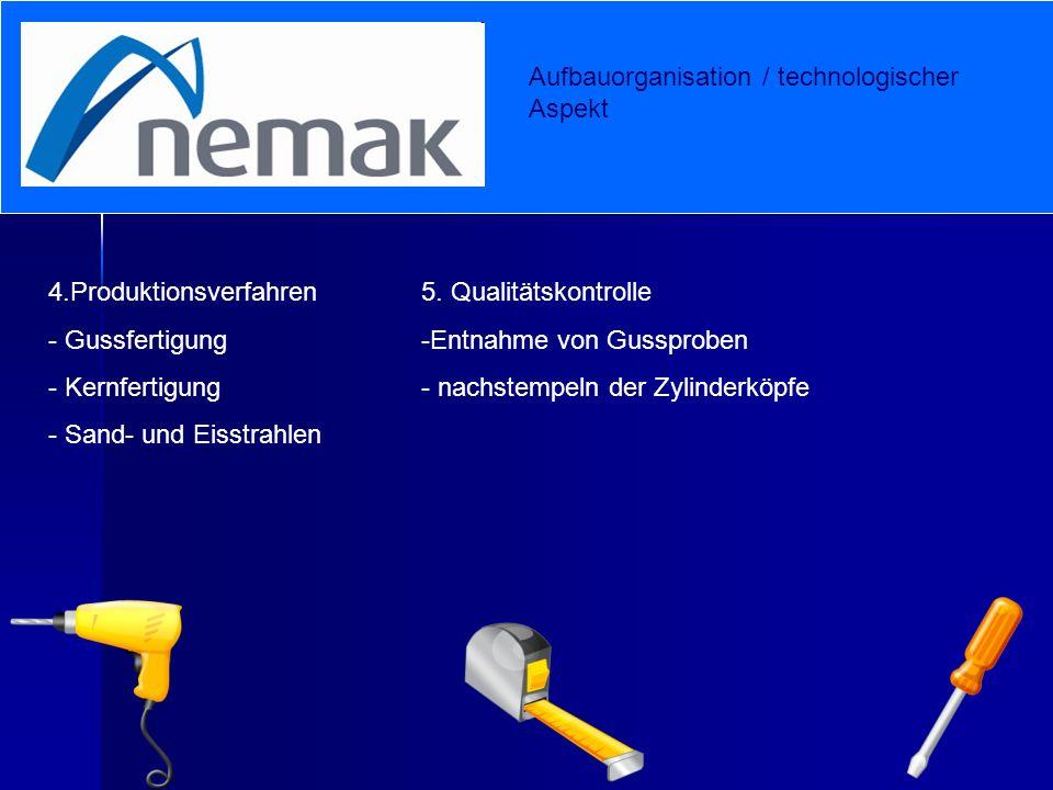 Aufbauorganisation / technologischer Aspekt 4.Produktionsverfahren - Gussfertigung - Kernfertigung - Sand- und Eisstrahlen 5. Qualitätskontrolle -E-En