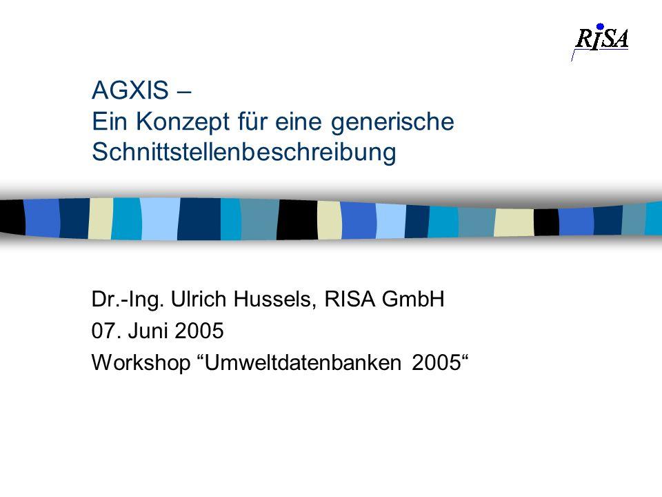 AGXIS – Ein Konzept für eine generische Schnittstellenbeschreibung Dr.-Ing. Ulrich Hussels, RISA GmbH 07. Juni 2005 Workshop Umweltdatenbanken 2005