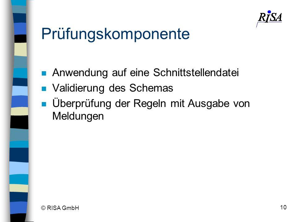 © RISA GmbH 10 Prüfungskomponente n Anwendung auf eine Schnittstellendatei n Validierung des Schemas n Überprüfung der Regeln mit Ausgabe von Meldunge