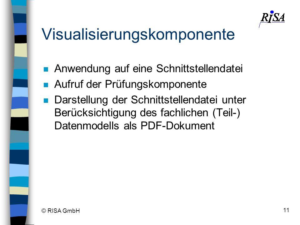 © RISA GmbH 11 Visualisierungskomponente n Anwendung auf eine Schnittstellendatei n Aufruf der Prüfungskomponente n Darstellung der Schnittstellendate