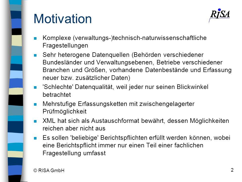 © RISA GmbH 2 Motivation n Komplexe (verwaltungs-)technisch-naturwissenschaftliche Fragestellungen n Sehr heterogene Datenquellen (Behörden verschiede