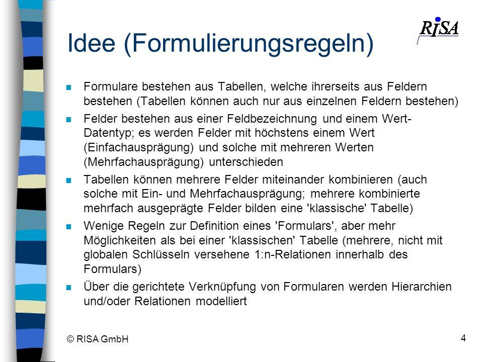 © RISA GmbH 4 Idee (Formulierungsregeln) n Formulare bestehen aus Tabellen, welche ihrerseits aus Feldern bestehen (Tabellen können auch nur aus einze