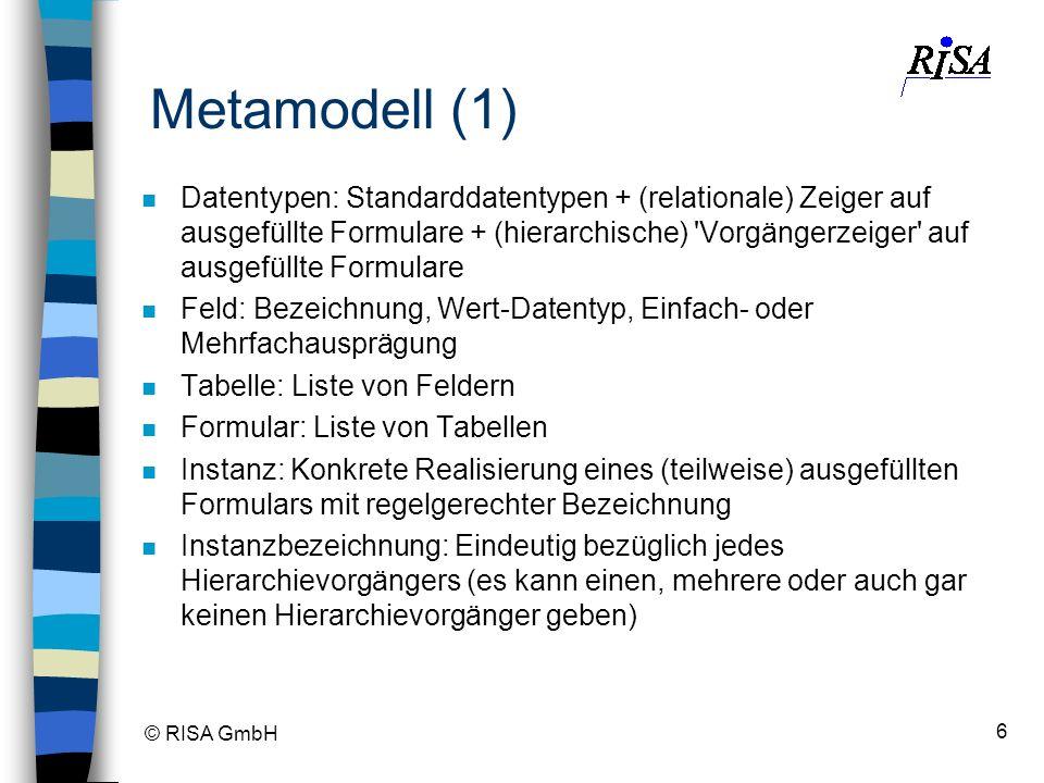 © RISA GmbH 6 n Datentypen: Standarddatentypen + (relationale) Zeiger auf ausgefüllte Formulare + (hierarchische) 'Vorgängerzeiger' auf ausgefüllte Fo