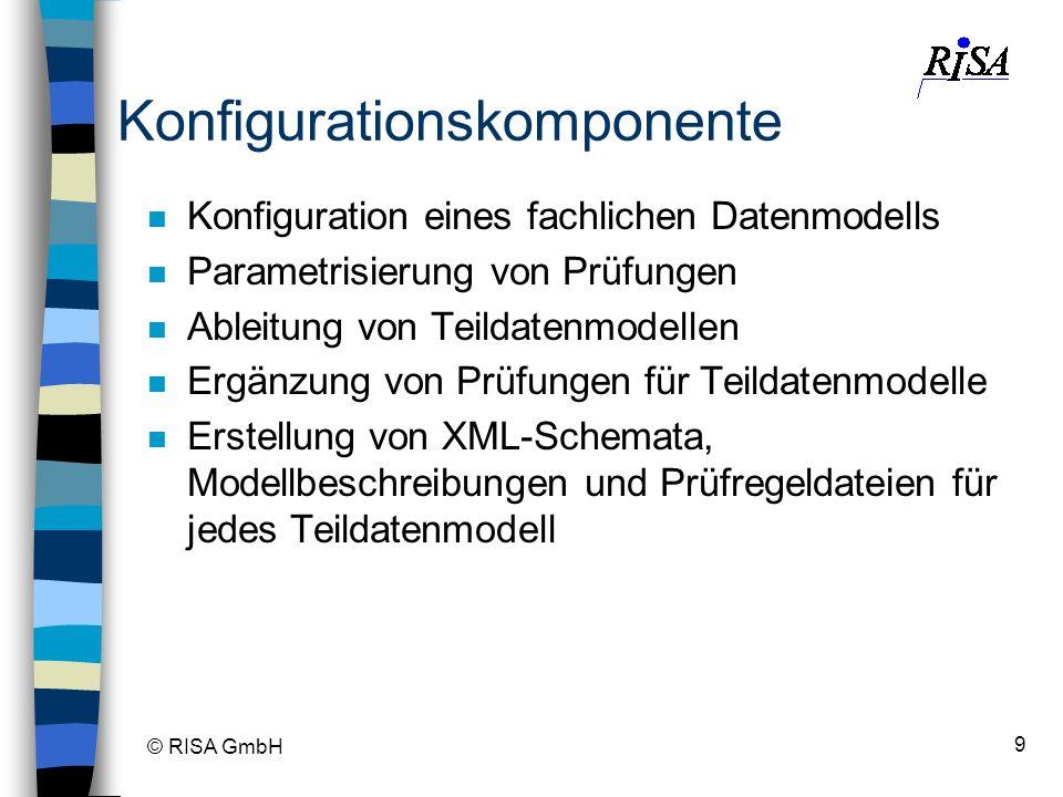 © RISA GmbH 9 Konfigurationskomponente n Konfiguration eines fachlichen Datenmodells n Parametrisierung von Prüfungen n Ableitung von Teildatenmodelle