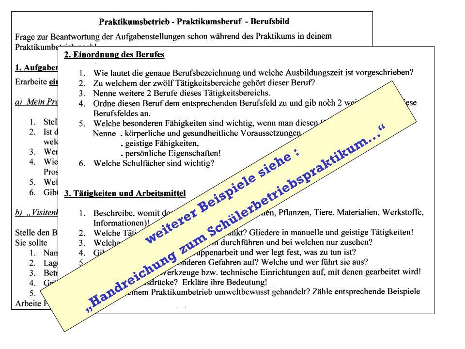 weiterer Beispiele siehe : Handreichung zum Schülerbetriebspraktikum...