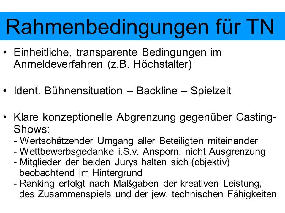 Einheitliche, transparente Bedingungen im Anmeldeverfahren (z.B. Höchstalter) Ident. Bühnensituation – Backline – Spielzeit Klare konzeptionelle Abgre